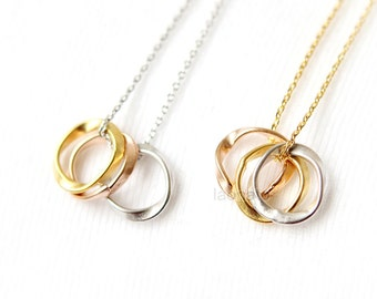 Tri-Color Circles necklace / Eternity Circles Necklace, gold, silver