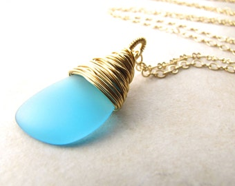 Seaglass Necklace, Sea Glass Necklace, Mermaid Necklace, Seaglass Pendant, Aqua Seaglass, Beach Jewelry, Beach Wedding, Ocean Jewelry