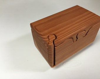 Handcrafted 4 Piece Redwood Puzzle Box with inner secret compartment