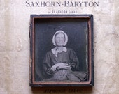Antique Framed Ambrotype Tin Type Photograph of Granny in her Bonnet in Leather Backing Case - Great Halloween Decor