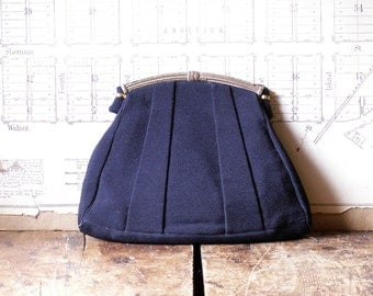 Vintage Navy Faille Purse with Gold Clasp - Retro Fifties Style