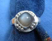 Gray Moonstone Square Cushion Cut in Granulated Sterling Ring Size 7