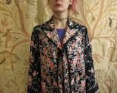 reserved 20's Vintage Hand Embroidered Black Silk Jacket Cantonese