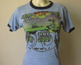 Vintage 70's Yes World Tour Psychedelic Band Shirt
