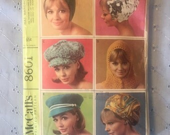 1960's Hats! / Mod Style Sewing Pattern / 1960's Sewing / McCall's 8601 / Cute Hats!