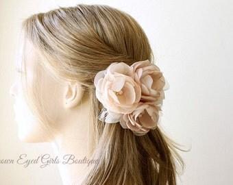 Blush Bridal Flower Hair Clip, Blush and Champagne Wedding Hair Accessory, Blush Fascinator, Blush Bridal Head Piece