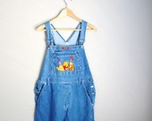 Vintage 90s Winnie the Pooh Denim Jean Carpenter Overalls Dungarees // womens large