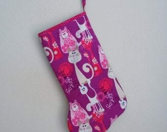 Pink and Purple Cat Print Christmas Stocking for Your Pet Cat or a Cat Lover