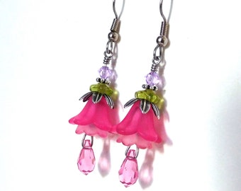 Pink flower earrings - lucite flower layers, rose pink crystal teardrop, fuchsia petunia, antiqued silver bead caps, pink flower jewelry