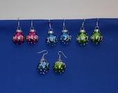 Glass Ball Christmas Ornament Holiday Earrings - Cheer, Joy, and Merry
