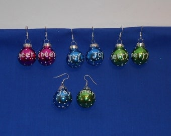 Glass Ball Christmas Ornament Holiday Earrings - Cheer, Joy, and Merry
