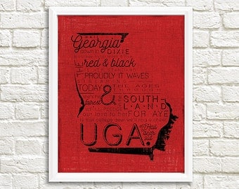 University of Georgia UGA Bulldawgs Fight Song College Football 8x10 Printable Wall Decor