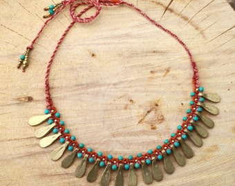 boho bib necklace, turquoise pink and gold, goddess necklace, ethnic necklace, african necklace, tribal necklace, rajastani jewelry, brass