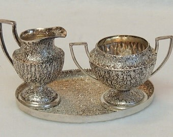 Rare Vtg JWR Sterling Silver Miniature Childs/Doll Size Cream & Sugar With Tray.. Repousse Grape Vine