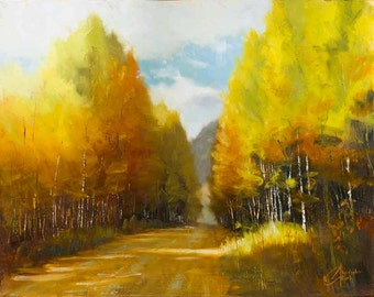 Original oil painting, Aspen Autumn, impressionism landscape