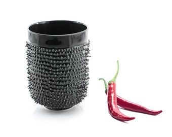 Black Ceramic Tumbler for Tea or Coffee, Tea or Coffee Mug with Spikes, Quirky gift, Spiky Mug