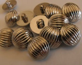 """15 Silver Half Ball Small Round Shank Buttons Size 11/16"""""""