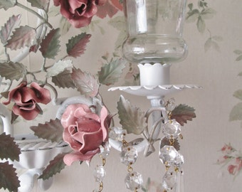 shabby chic metal rose sconce pink tole toll rose crystal sconce shabby cottage decor romantic style