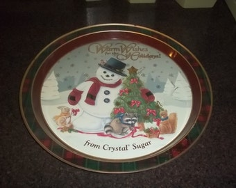 Warm Wishes for the Holidays from Crystal Sugar metal tray
