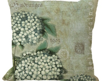 Burlap Hydrangea on Aged Aqua in Choice of 14x14 16x16 18x18 20x20 22x22 24x24 26x26 inch Pillow Cover