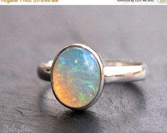 WINTER SALE - Ethiopian Opal Rings - October Birthstone Ring - Gemstone Ring - Stacking Ring - Sterling Silver Ring - Oval Ring