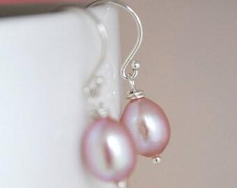 Simple Oval Shaped Pink Freshwater Pearl Earrings, Argentium Sterling Silver Hoops, June Birthstone, Gift Under 20, Wedding Jewelry