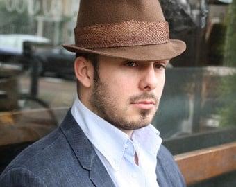fish leather trimmed hat, braun liver colour pork pie hat