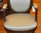 Antique Small Round French Chair Carved Lines w/ Bows