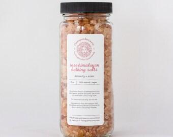 Rose Himalayan Bathing Salts 12oz - Vegan - All-Natural - Organic - relax - beautify - aphrodisiac