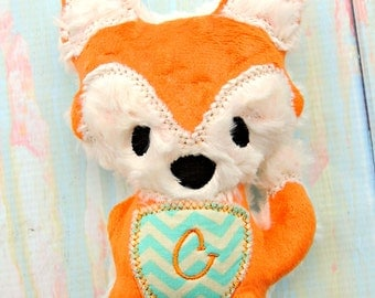 Personalized Fox - Monogrammed fox - Plush Fox - Embroidered Fox - Baby shower gift -Nursery decor - Baby toy - Whimsy toy