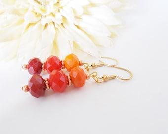 Orange Earrings, Autumn Earrings, Dangle, Dark Red Earrings, Clip On, Ombre Red and Orange Earrings, Pumpkin Orange, Czech Glass Earrings