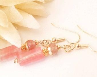 Cherry Quartz Earrings, Pink Quartz Earrings, Pink Gemstone Earrings, Coral Pink Earrings, Clip Ons, Bohemian Dangle Earrings, Gift for Her