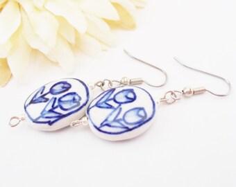 Dutch Blue Earrings, Delft Blue Ceramic Beaded Earrings, Tulip Earrings, Summer Jewelry, Birthday Gift for Sister, Blue Floral Earrings