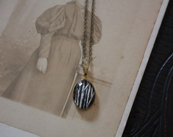 Black Woods - original drawing brass necklace