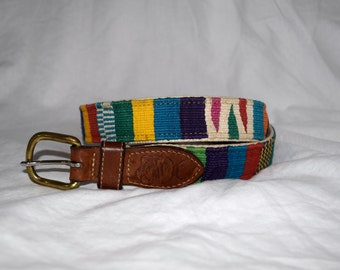 Painted Skies - Multi Colored Southwestern Leather Belt 30