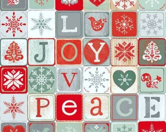 Christmas Joy Love Peace Multi Block Words premium cotton fabric by Lucie Crovatto for Studio E - Christmas fabric