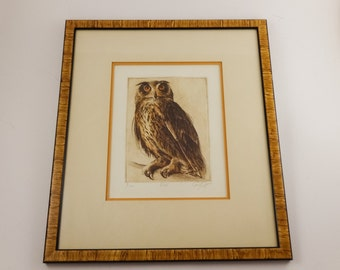 Great Horned Owl Portrait Etching by Sandy Scott Limited Edition Wood Framed Art