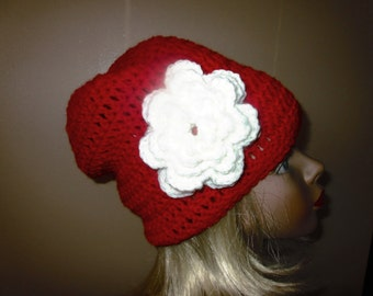 Christmas Red  Slouchy Hat with a White flower Ready to Ship