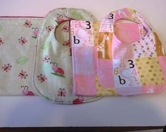 Baby Girl Bibs and Burp Cloth Sets 4 Piece Set