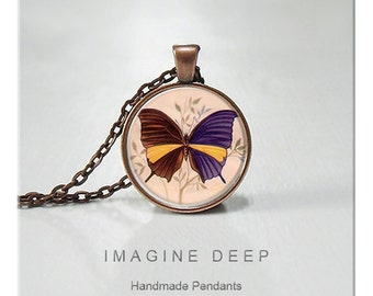 BUY 2 GET 1 FREE Butterfly Pendant Necklace High Quality Handmade Silver Copper Pendant - Purple Yellow Butterfly (005)