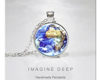 BUY 2 GET 1 FREE Earth Pendant Necklace Beautiful Blue Planet High Quality Handmade Silver Copper Pendant - Awesome Earth - Africa (141)