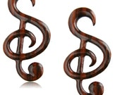 6ga (4mm) Sono Wood Musical Notes Hanging Wood Gauge Spirals
