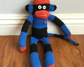 Sock monkey plush doll - red, blue, and black rugby stripes with red heart