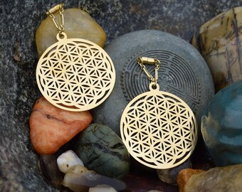 Flower of Life Sacred Geometry Magnetic Clasp Gauged Earrings -  Sizes 2g - 1""