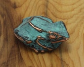 Spring Sale 10% Tree Frog Sculpture - expressionistic sculpture of a pacific tree frog with blue green copper patina