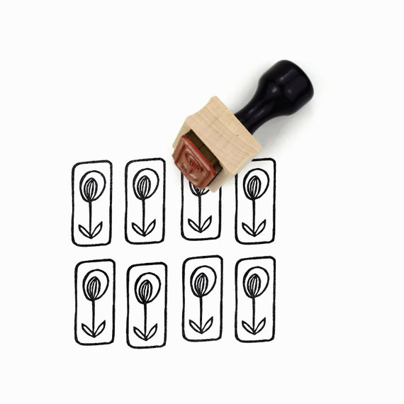Rubber Stamp Boxed Tall Flower - Hand Drawn Flower Stamp by Creatiate