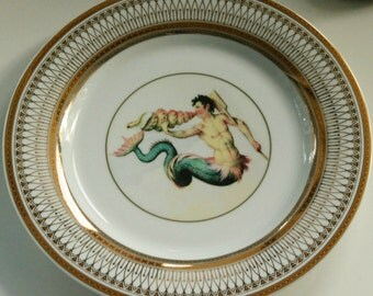 "Gold Merman Dinner Plates, 10.5"", Mermaid Dishes, Nautical Sealife Dinnerware, Siren, Rockabilly Dishes, Rockabilly Plates, Retro Plates"