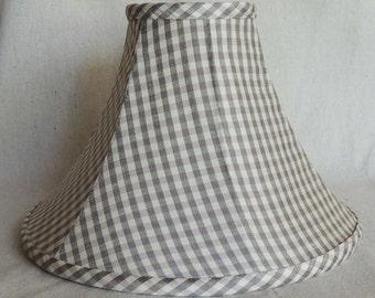 Silk Lamp Shade, Lavender Black and Cream Lamp Shade, Hand Made Silk Lamp Shade, Lamp Shade, Fabric Shade, Vintage Silk Shade, 4x11x7 High