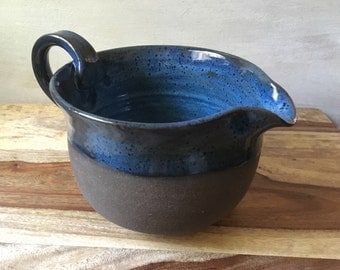 Pottery Mixing Bowl, Handmade Pottery Batter Bowl, Blue Batter Bowl, Kitchen Essentials, Handmade Ceramics for the Kitchen, Pottery Gift