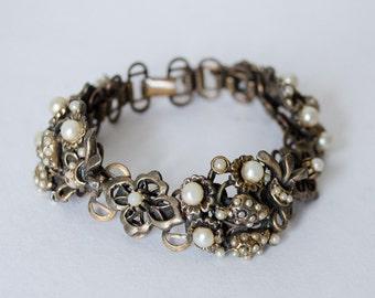 1930s vintage bracelet / chunky brass & pearl bracelet